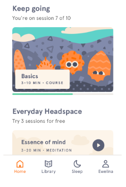 headspace dashboard keep going