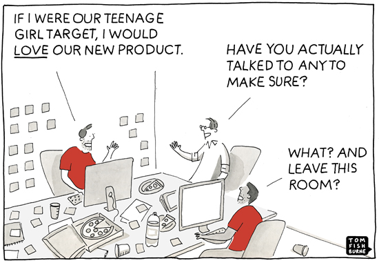 ux meeting cartoon about target group